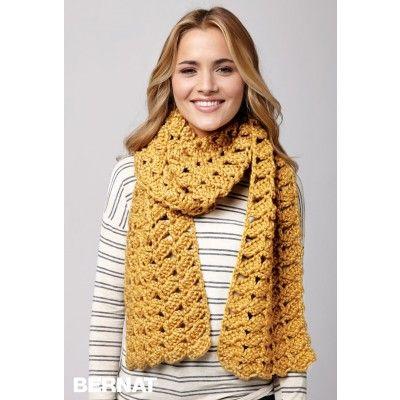 Shifting Shells Scarf - free Bernat crochet pattern in English and ...