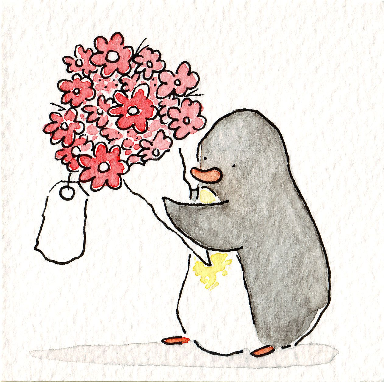 Sad penguin for flu season arte moderno pinterest - Ilustraciones infantiles acuarela ...