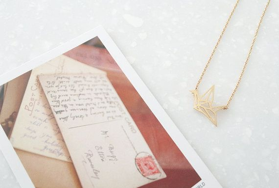 NL120 / Matt Gold or Silver / Folded Paper Crane by BeadsPool