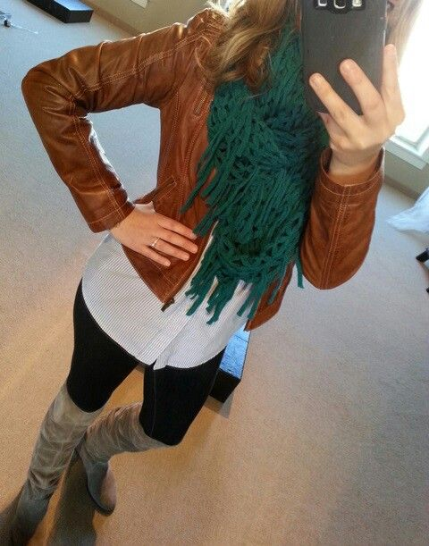 brown leather jacket   boots   leggings | .What We Wore ...
