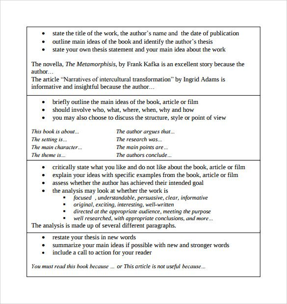Critical Analysis Article Summary Template  Tutorials
