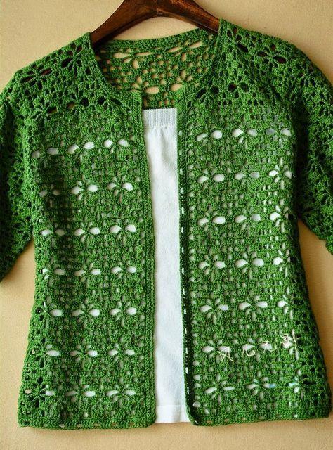 Tığ işi Yeşil Renkli Bayan Yelek Modeli Şemalı Anlatımlı 3 #kleidunghäkeln