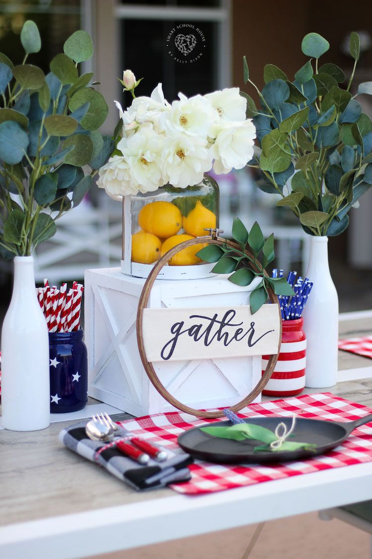 Red White And Blue Table Decorations Table Decorations Diy