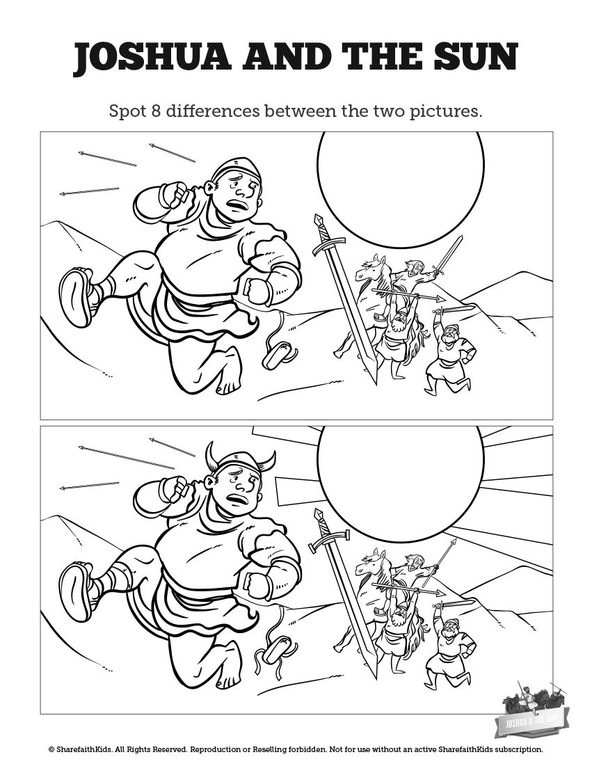 joshua chapter 10 coloring pages | Joshua 10 Sun Stand Still Kids Spot The Difference: Can ...