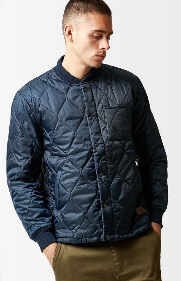 Brixton Crawford Navy Quilted Bomber Jacket Products Pinterest