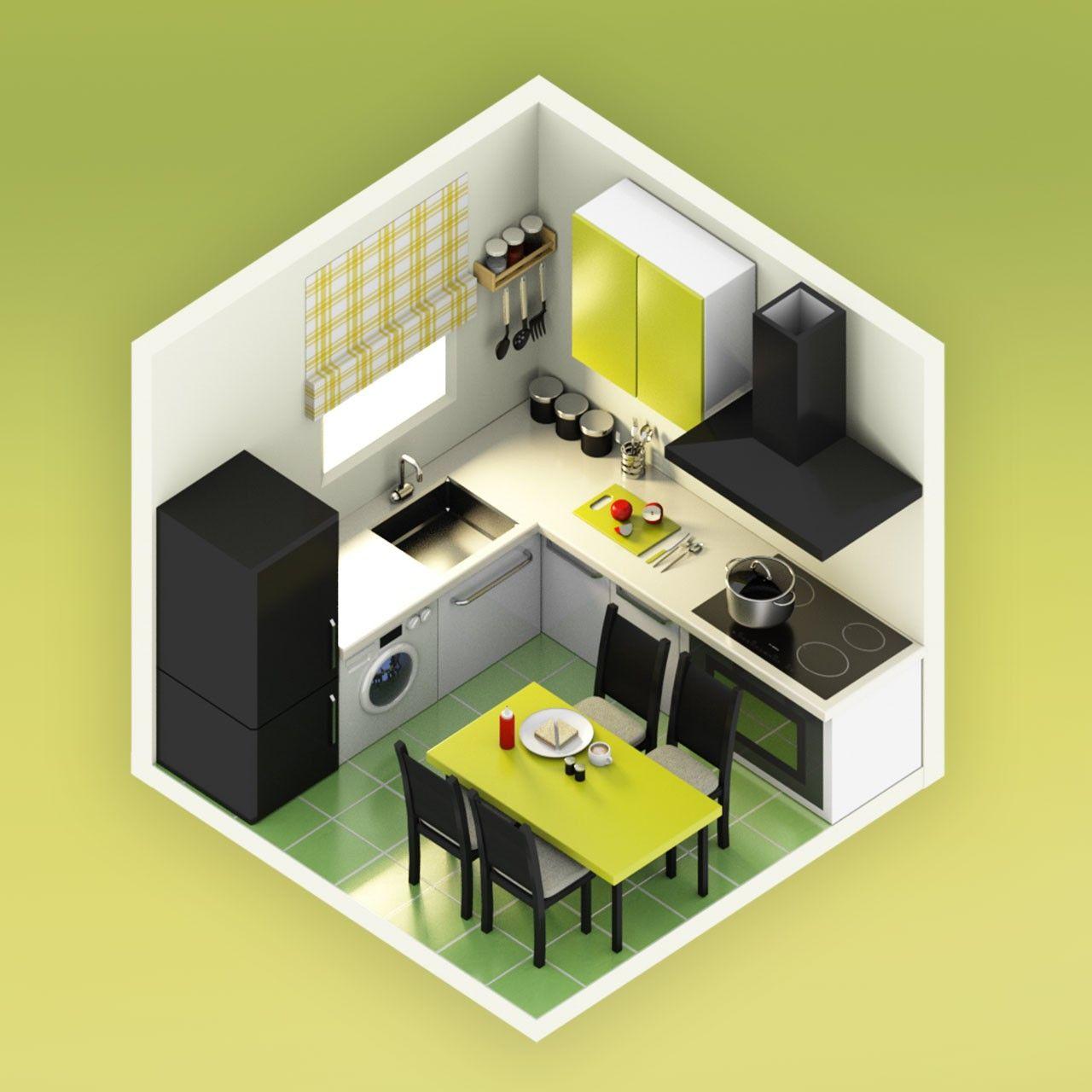 Isometric 3d Model Of Kitchen Kitchen Design Interior Room Design