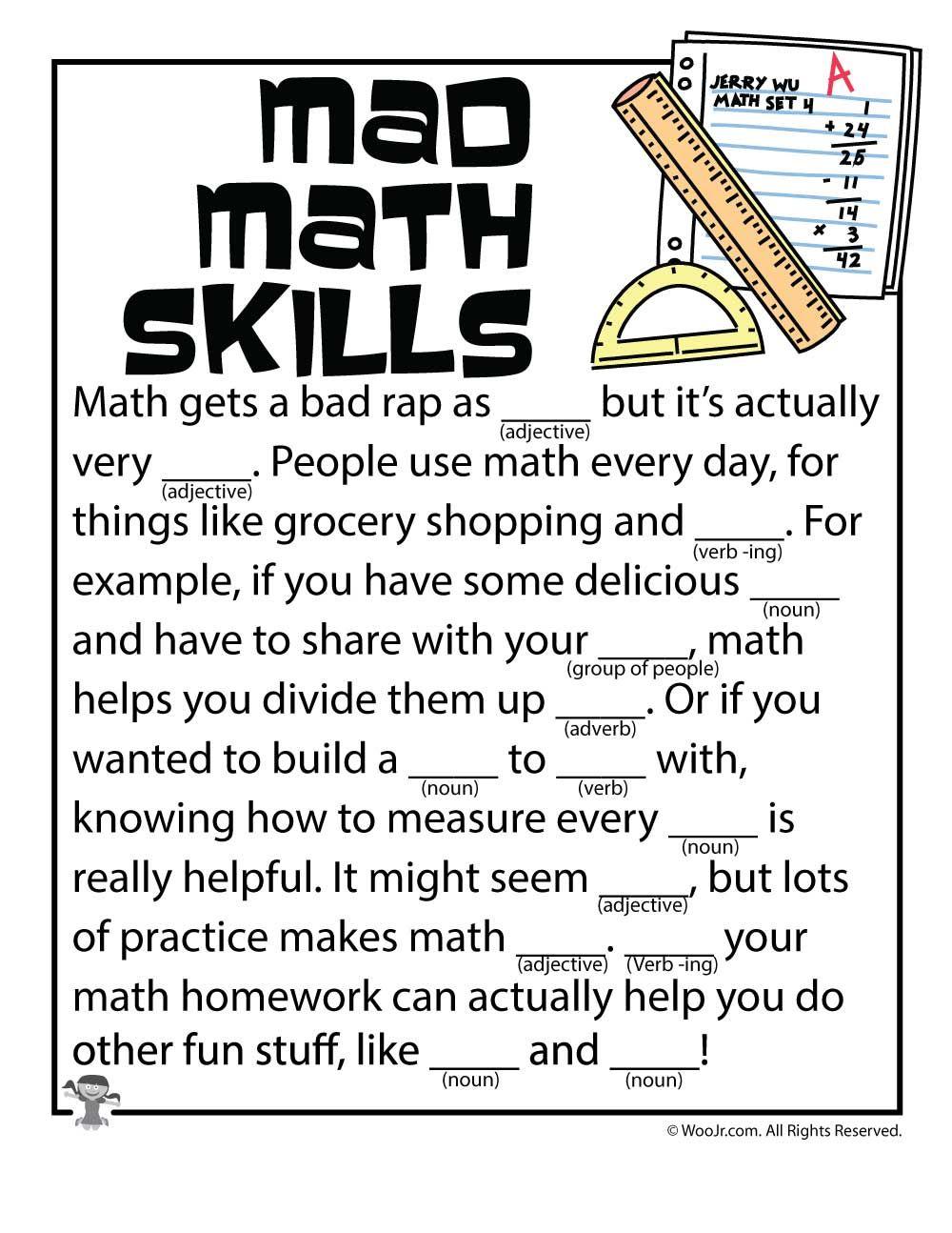 Mad Libs Worksheets Woo Jr Kids Activities Math Skills Mad Libs Teacher Appreciation