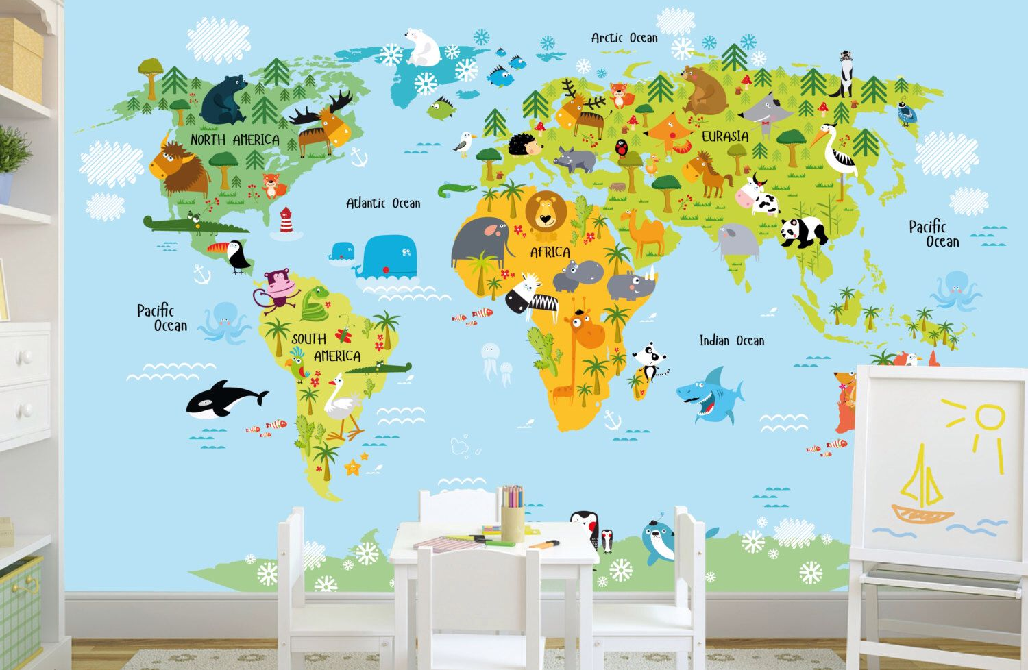 Self adhesive removable wallpaper map kids wall mural animals self adhesive removable wallpaper map kids wall mural animals world map wallpaper gumiabroncs Image collections