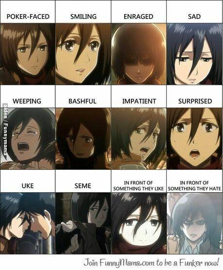Anime Manga Snk Character Mikasa The Many Faces Of Mikasa