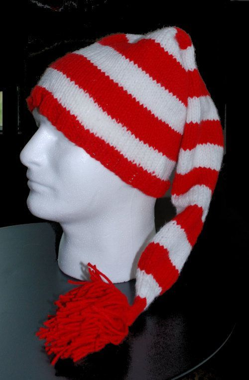 5e97edbb321 This striped stocking hat in red and white would be a great variation on  the traditional. Knitting Patterns ...