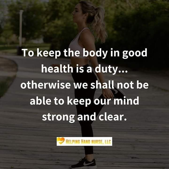 Keep your body healthy in order to keep your mind strong and clear!  #personalcare #homehealthcare #...