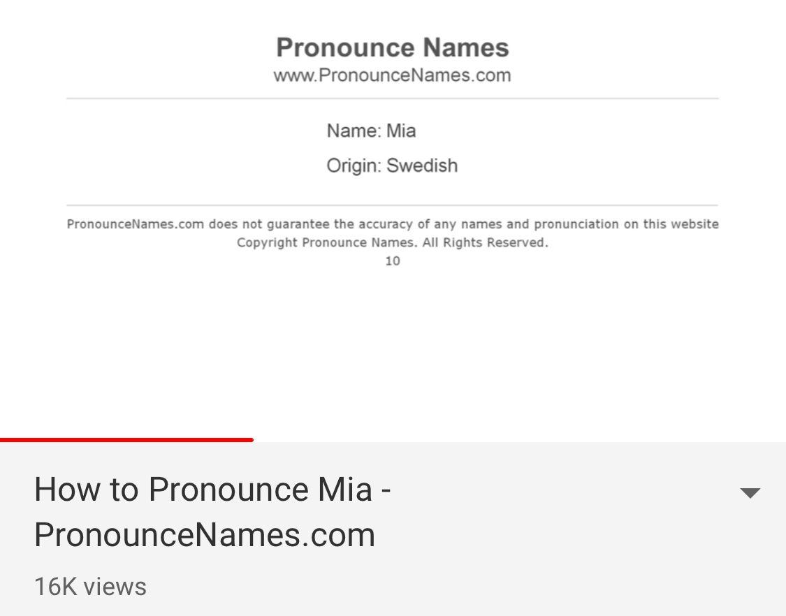 Name: Mia  How to pronounce, Names, Pronunciation