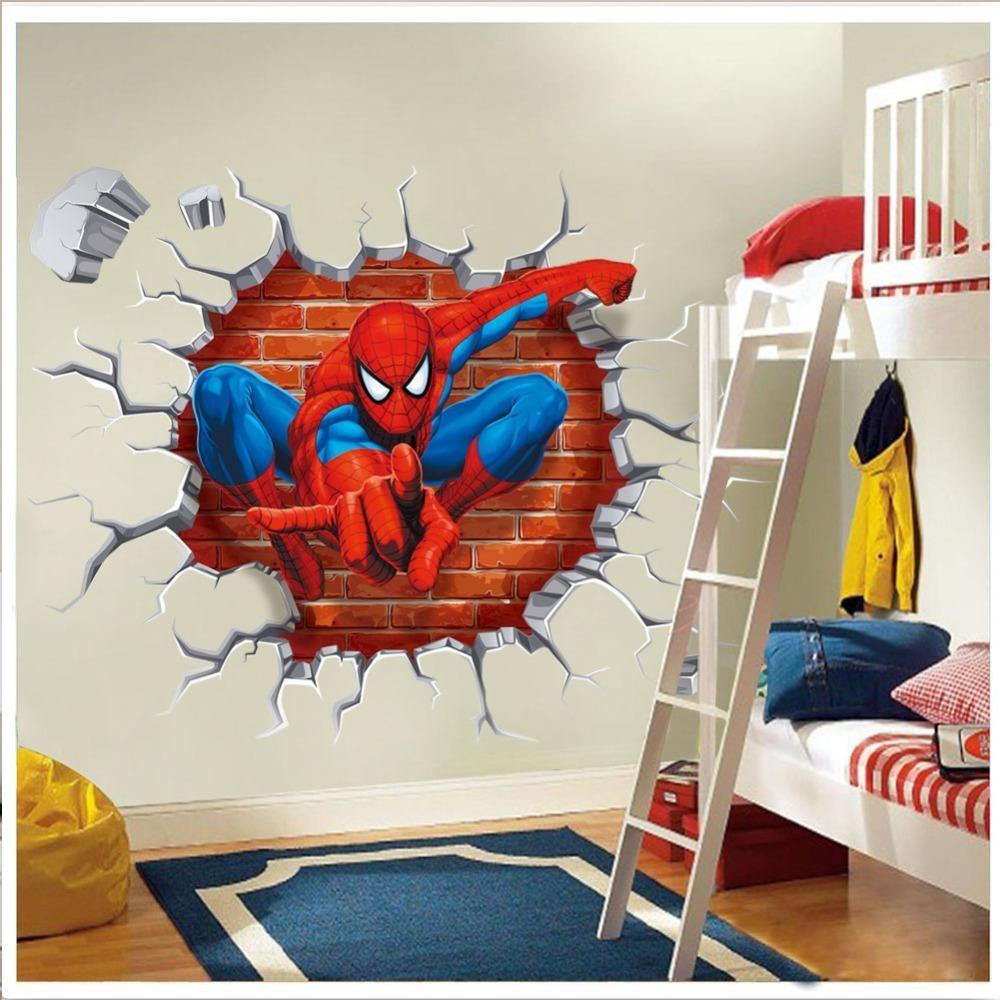 D spiderman super hero cartoon movie wall sticker for kids room