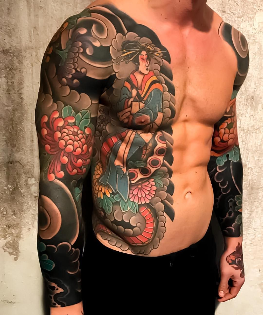 "175600c76 Japanese Ink on Instagram: ""Japanese arm sleeve and side tattoo by  @boneltattooer."