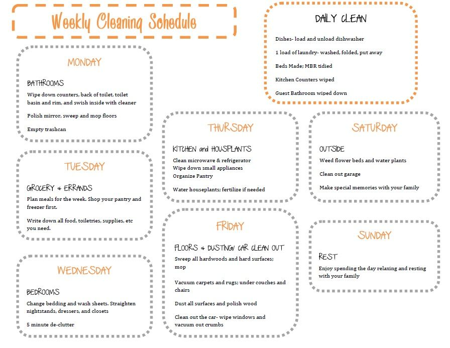 Weekly Household Cleaning Schedule    House Schedule Printable