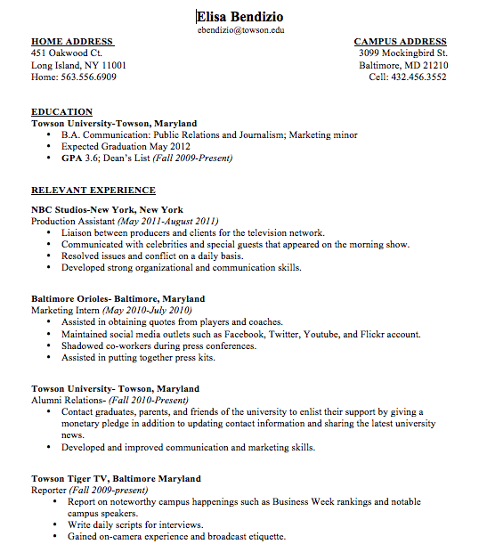 Example College Resumes Sample College Student Resume No Work Experience Sample  College .