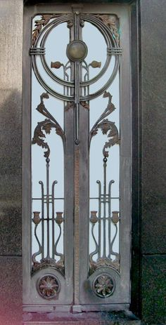 "Art Nouveau / Art Deco Entrance (this appears to be a ""transitional"" piece: mostly Art Nouveau's naturals, but also has Deco's linear & circle elements and balanced layout)  -   available as doors, windows, or gate -- Designed From Antiquity newly hand forged in Scottsdale AZ ""factory"" owned by descendant of famed Marbella Brothers - worked w/ Frank Lloyd Wright (Adler & Sullivan) and Greene & Greene."