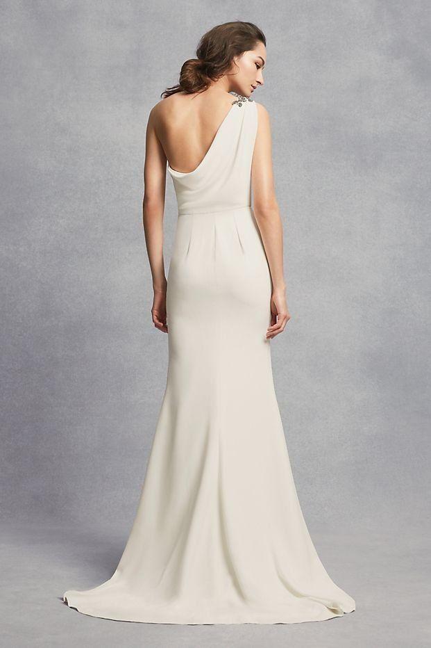 One Shoulder Sheath Wedding Dress With Crystals David S Bridal Grecian Wedding Dress Wedding Dresses Sheath Wedding Dress