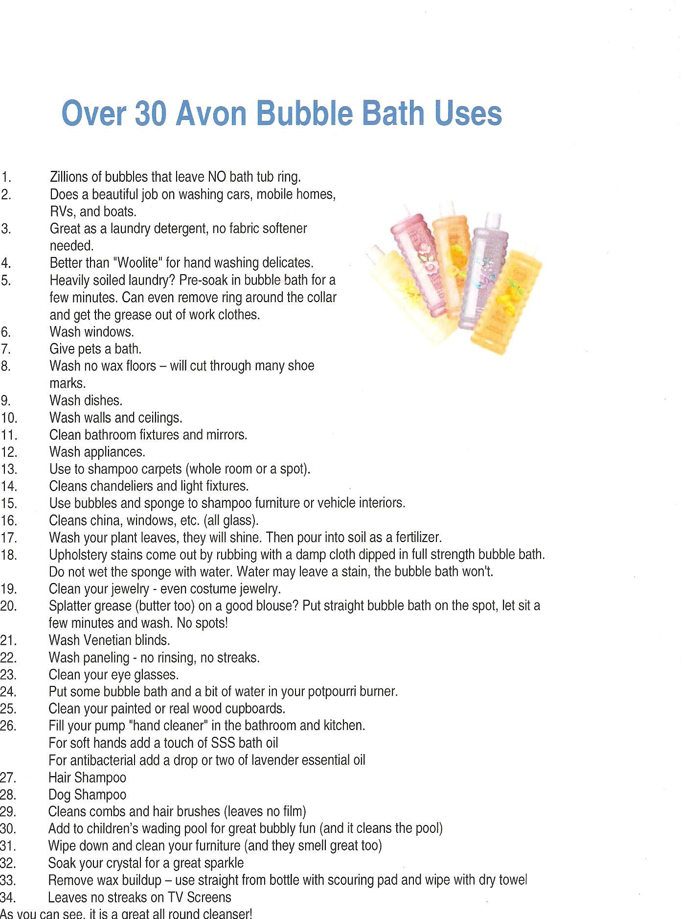 Over 30 Uses For Avon Bubble Bath Get Yours Delivered To You Www Youravon Com Theresacox Avon Bubble Bath Bubbles