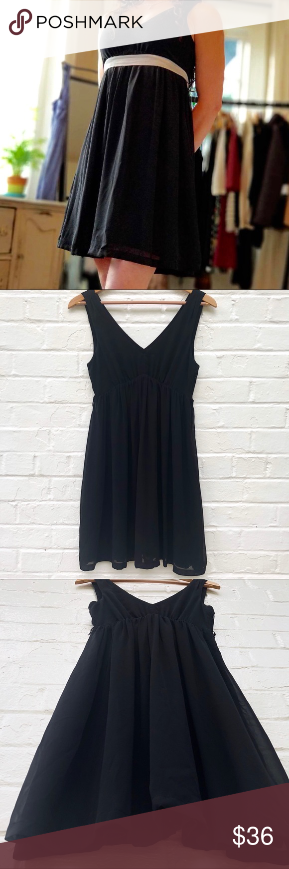 Aeo Sleeveless Empire Chiffon Little Black Dress Little Black Dress American Eagle Outfitters Dresses Dresses [ 1740 x 580 Pixel ]