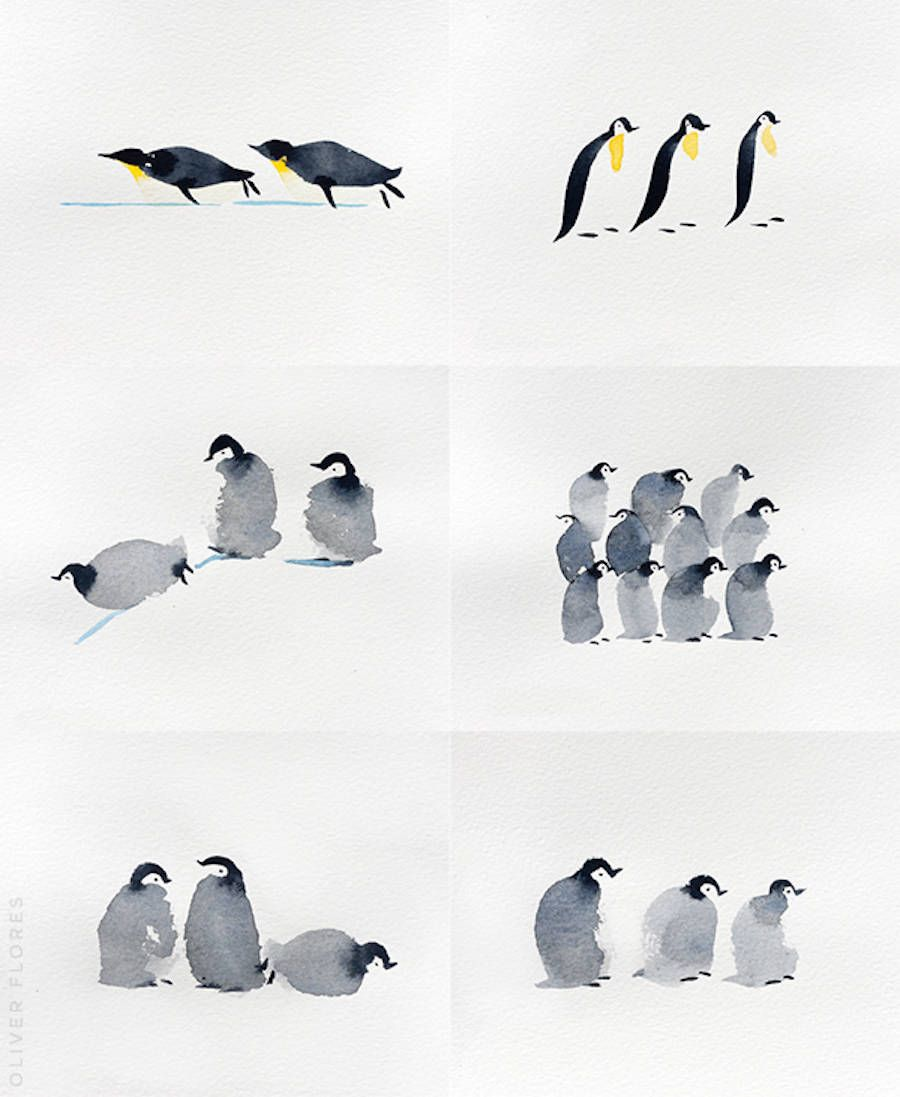 Cute Penguins Watercolor In 2020 Penguin Watercolor Penguins