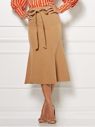 777180b8a70 A timeless camel hue adds versatile appeal to Eva s Claudine Skirt