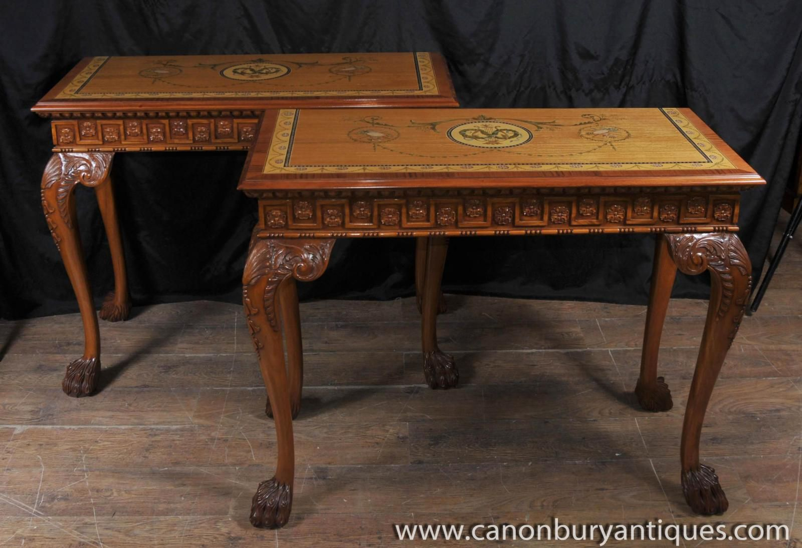 Photo of pair george ii console tables painted satinwood top photo of pair george ii console tables painted satinwood top carved legs geotapseo Gallery