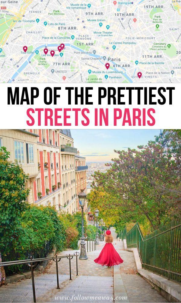 Map Of The Prettiest Streets in Paris | hidden gems in Paris | Charming paris streets you must see | photo spots in Paris | paris travel tips | best things to do in Paris | unusual things to do in Paris | Instagram locations Paris | pretty places in Paris #paris