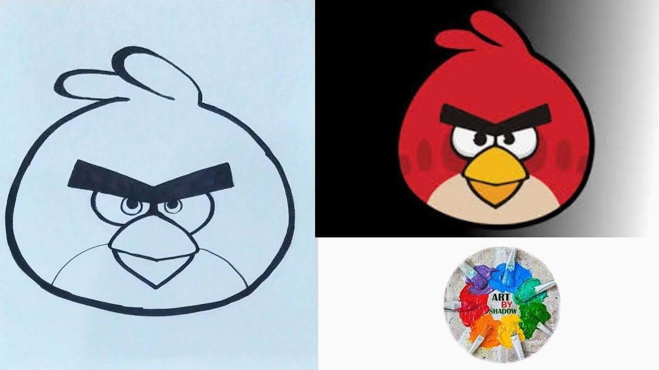 How To Draw Red Angry Birds Step By Step Angry Birds Drawing Red Angry Bird Drawings Cartoon Kids