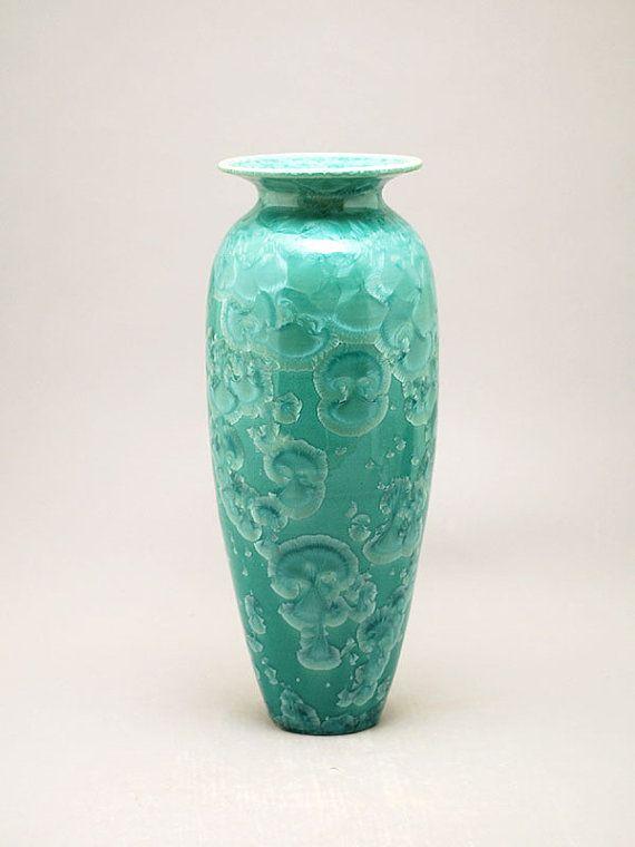Aqua Crystalline Vase Porcelain By Kyle Kreigh Door Pottery