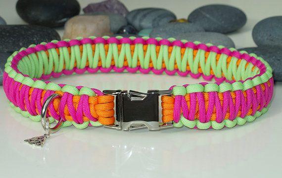 Neon Pink Orange & Green Paracord Dog Collar  by CallisiParacordUK, £13.49