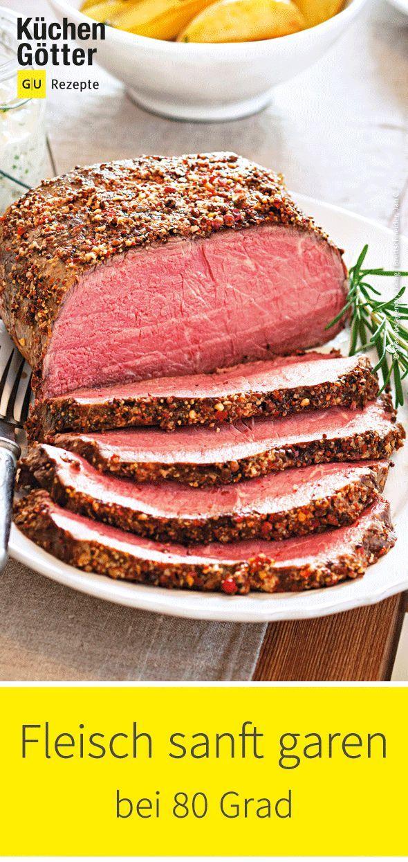 Saftig, zart und voller Aroma: Mit der Niedrigtemperatur-Methode gelingen Fleisch, Wild und Geflügel ganz sicher. Einfach anbraten und dann ab in den Ofen bei 80°. Wir haben die besten Rezepte für dich zusammengestellt. #beefandbroccoli