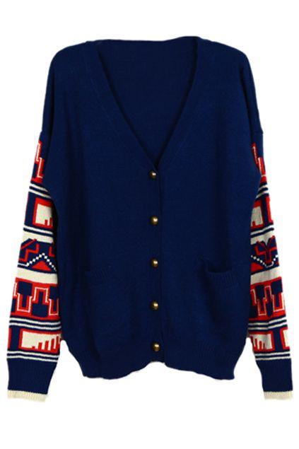 ROMWE   Buttoned Geometric Pattern Knitted Blue Cardigan, The Latest Street Fashion