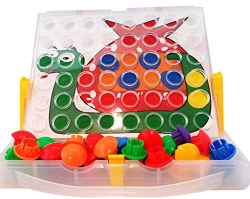 Peg button art fun by skoolzy a creative children activity toy portable color matching