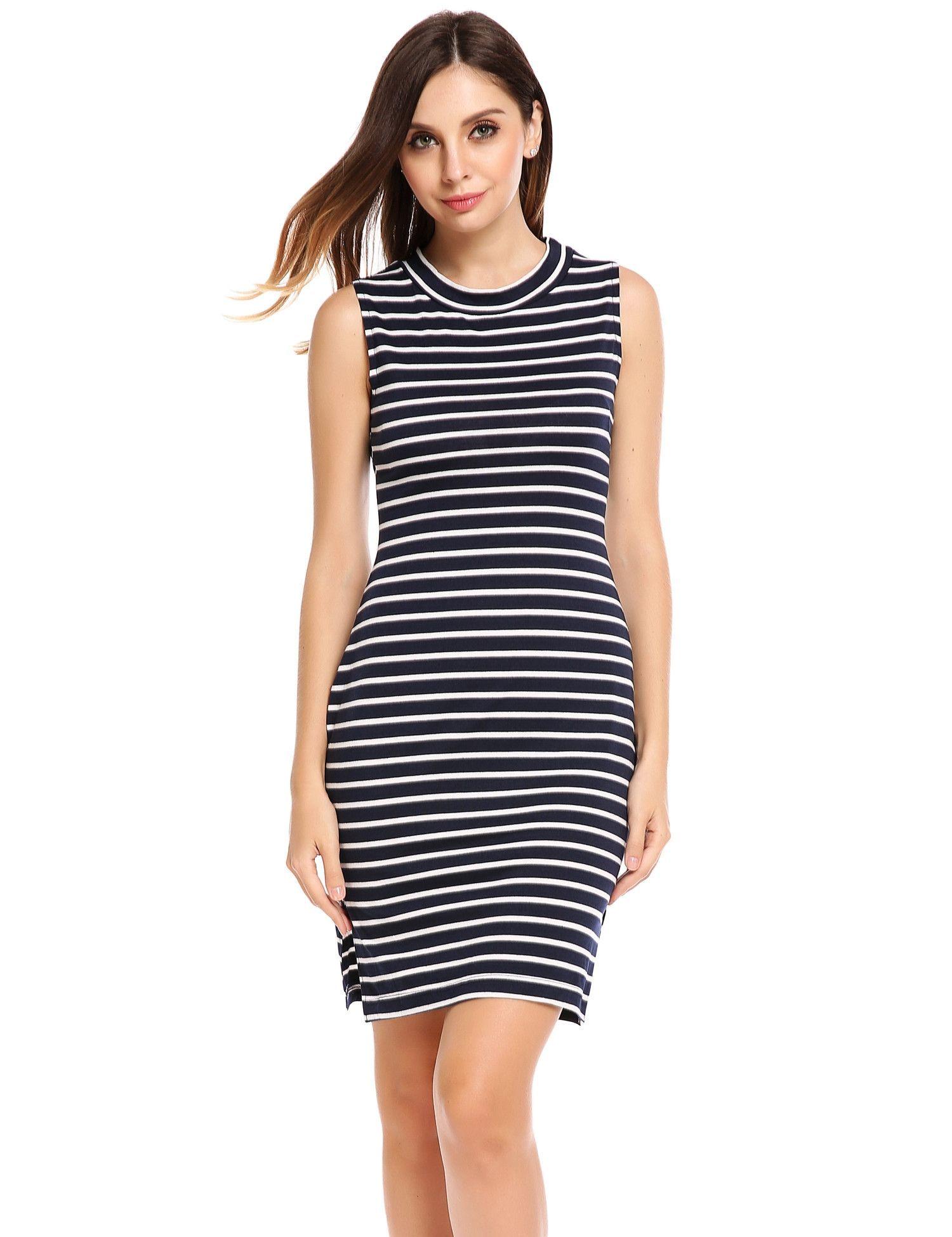 Navy Blue O Neck Sleeveless Striped Elastic Side Hem Split Casual Dress