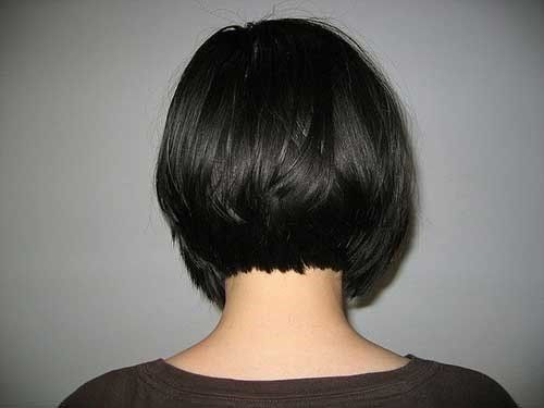 7 Gerade Dunkle Kurze Bob Haarschnitt Hinterkopf Bob Frisur Haarschnitt Bob Haarschnitt