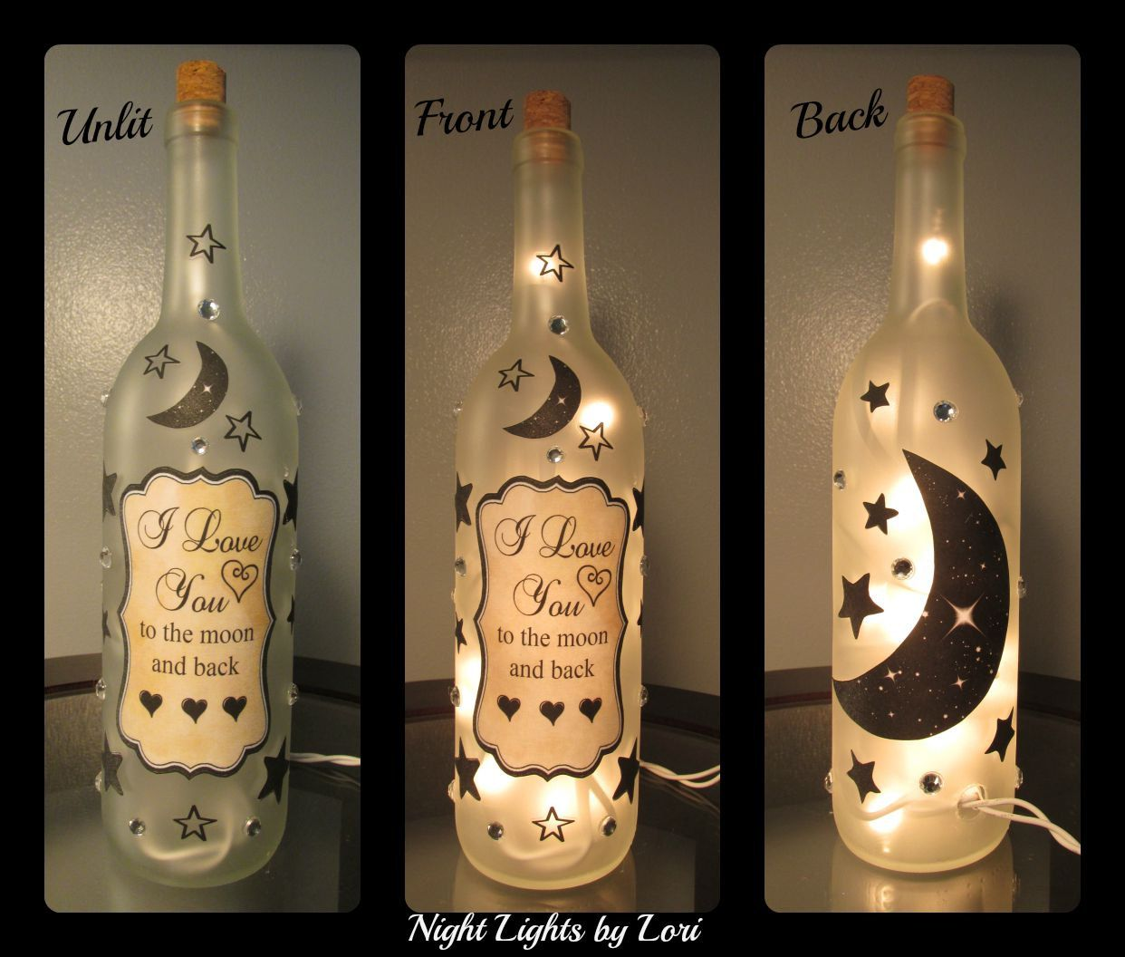 wine lighting. I Love You To The Moon And Back Wine Bottle Light/Decor/Lamp/Lighting /Personalize Lighting H