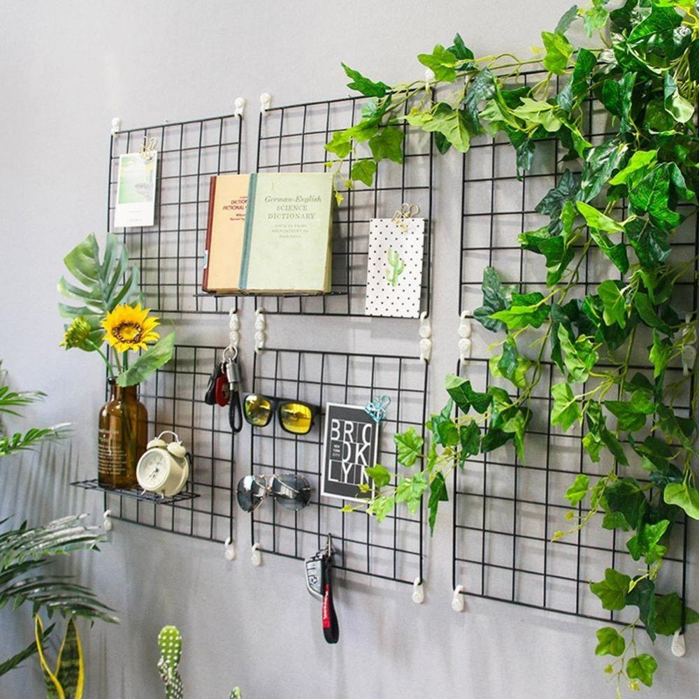 Multi Function Iron Metal Grid Decor Photo Frame Wall Art Display Mesh Storage Shelf Organizer Rack Hanging Wall Decor Minimalist Wall Decor Wall Decor Storage