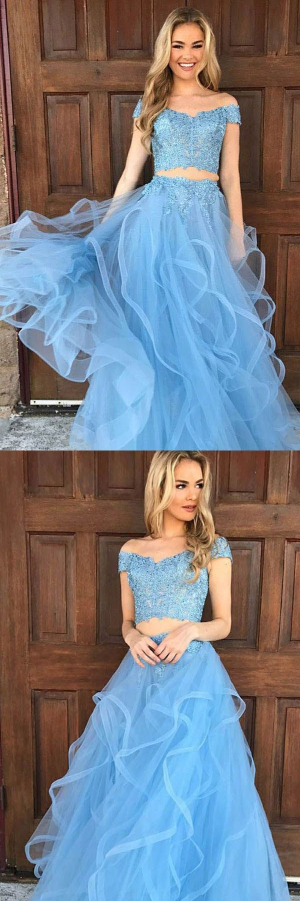 Outstanding blue prom dresses two piece off the shoulder sky blue