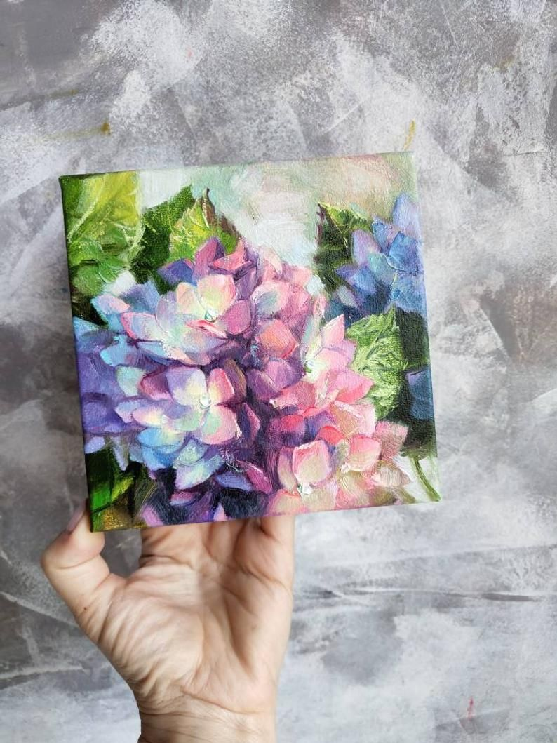 Hydrangea Flowers Painting Original Floral Art Canvas Oil Painting Purple Blue Art Hortense Hand P In 2020 Acrylic Painting Flowers Hydrangea Painting Flower Canvas