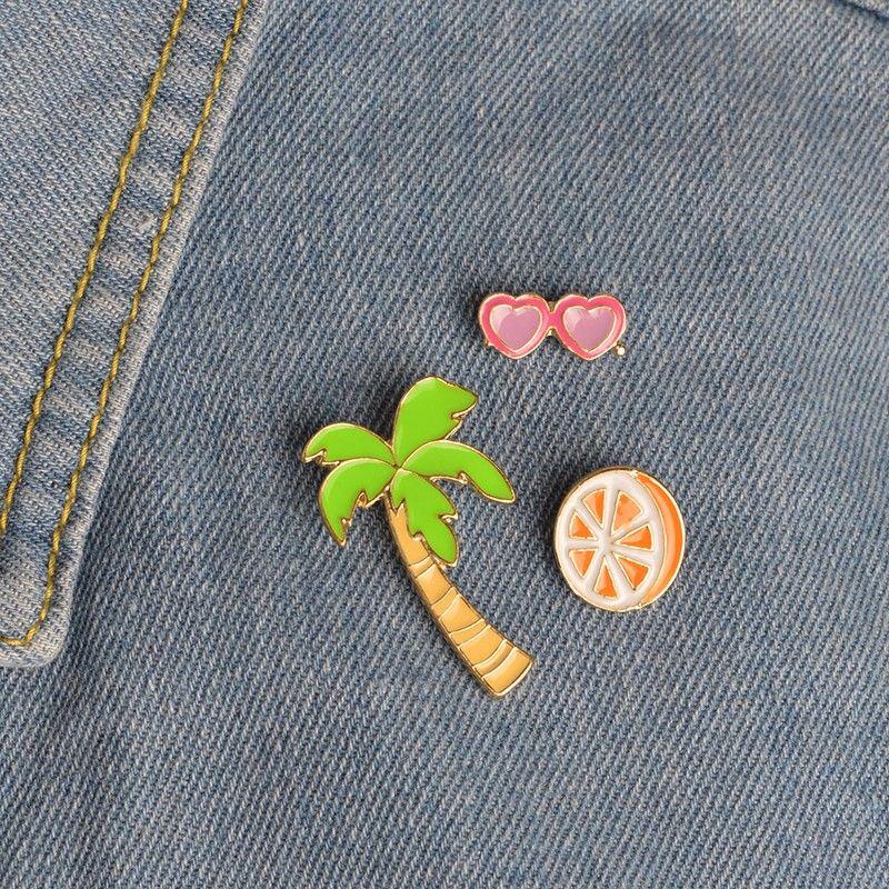 Coconut Orange Juice Heart Sunglasses Pink Flamingo Brooch