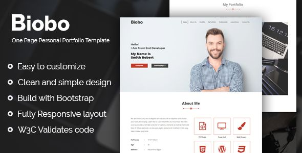 Biobo Responsive One Page Personal Portfolio Template By Mr7oda If