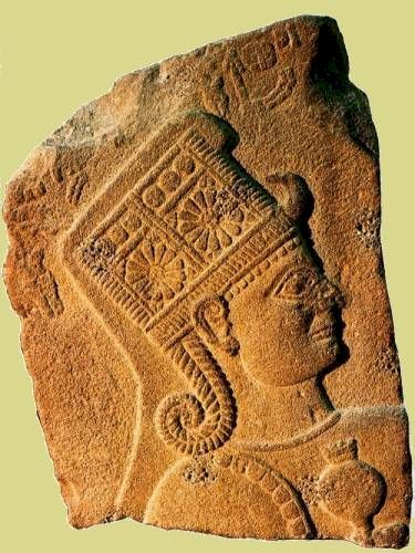 Hittite Monuments - Karkamış. Relief of Goddess Kubaba. Basalt relief fragment is about 82 cm in height and dates to around 850-750 BCE. Anatolian Civilizations Museum, Ankara. Queen Kubaba may have been deified, becoming Hebat.