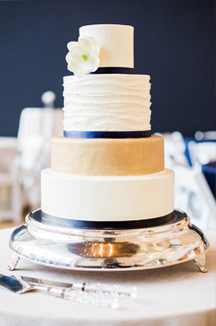 navy blue white and gold wedding cakes navy blue white gold 4 tier wedding cake by for goodness 17782