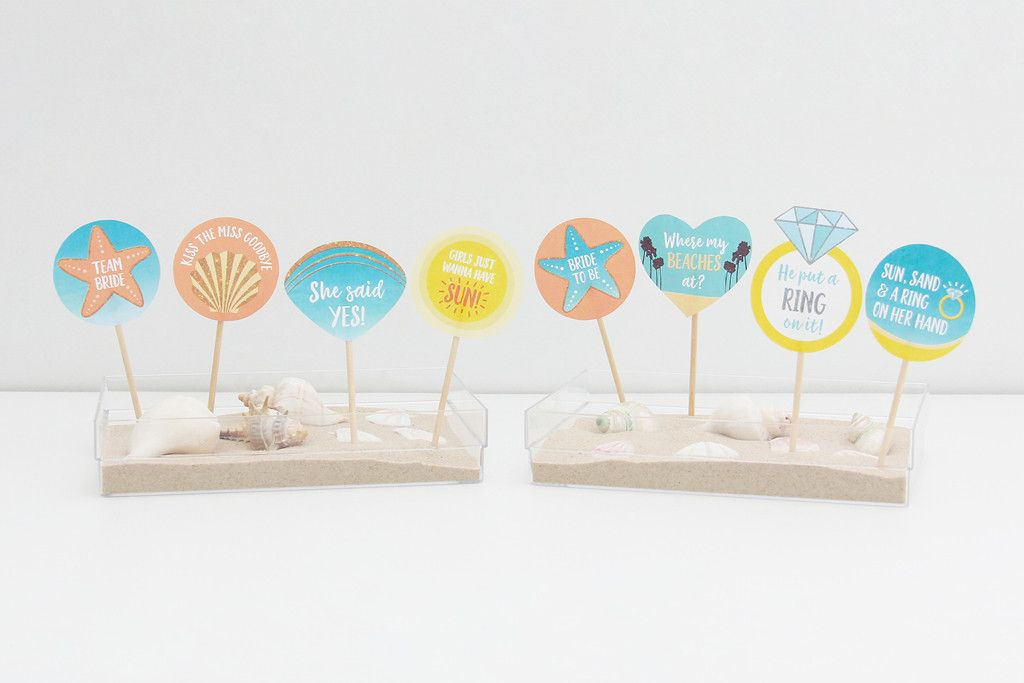 Bride To Be Beach Party Cupcake Toppers Printable | INSTANT