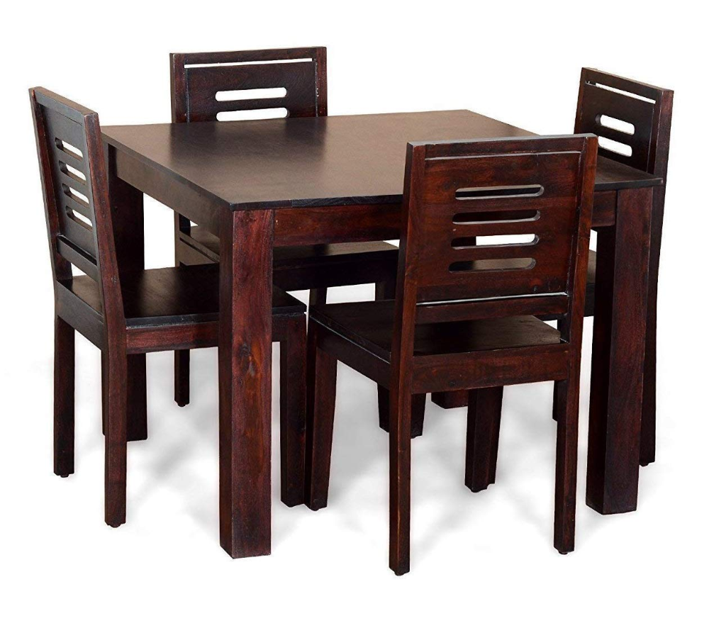 Craftswood Furniture Sheesham Wood 4 Seater Dining Table Set For Living Room Home Wooden Dining Tab 4 Seater Dining Table Wood Dining Table Dining Table Chairs