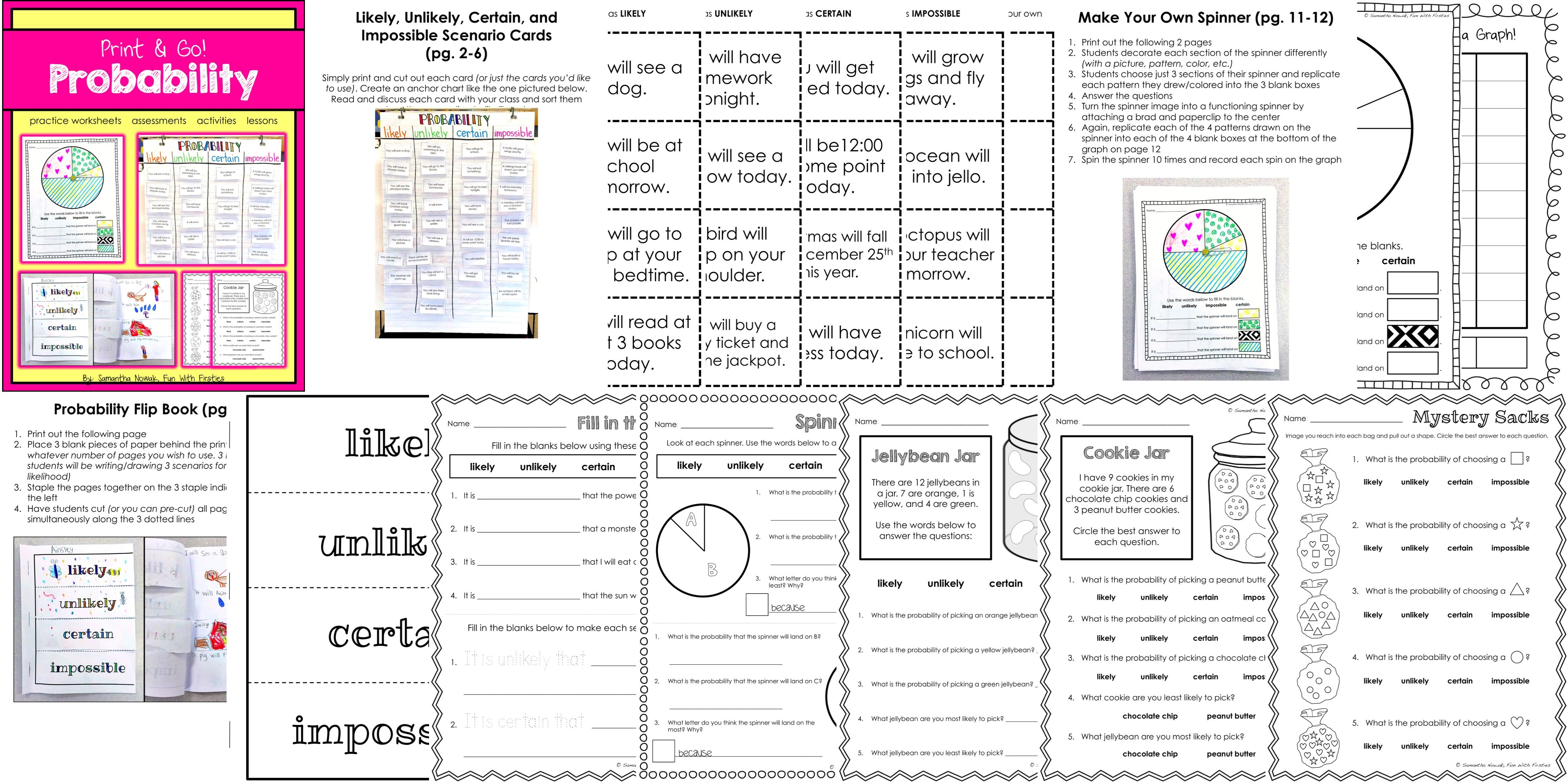 Probability Print Amp Go Worksheets Activities Lessons