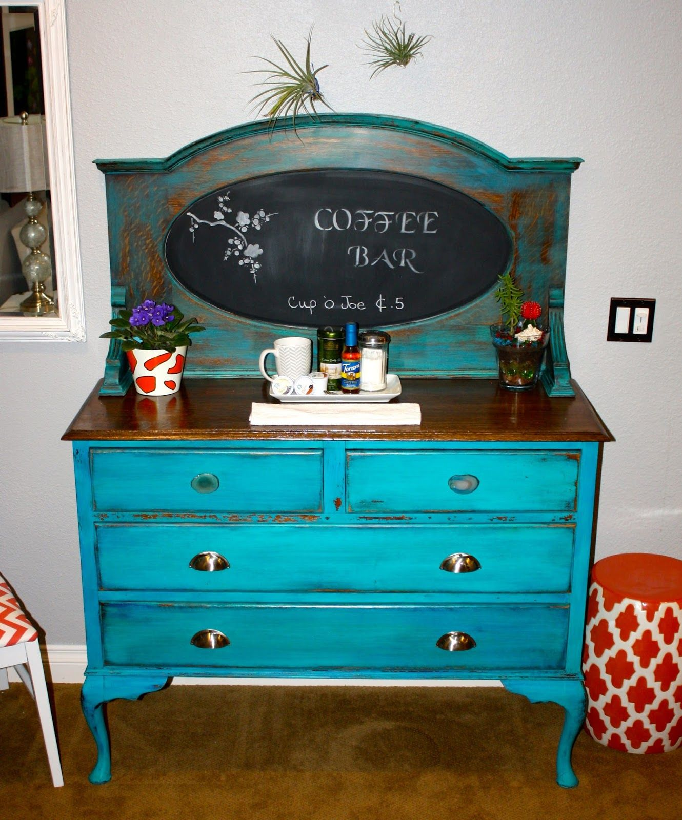 Repurposed an antique buffet into a coffee bar. Turquoise milk paint ...