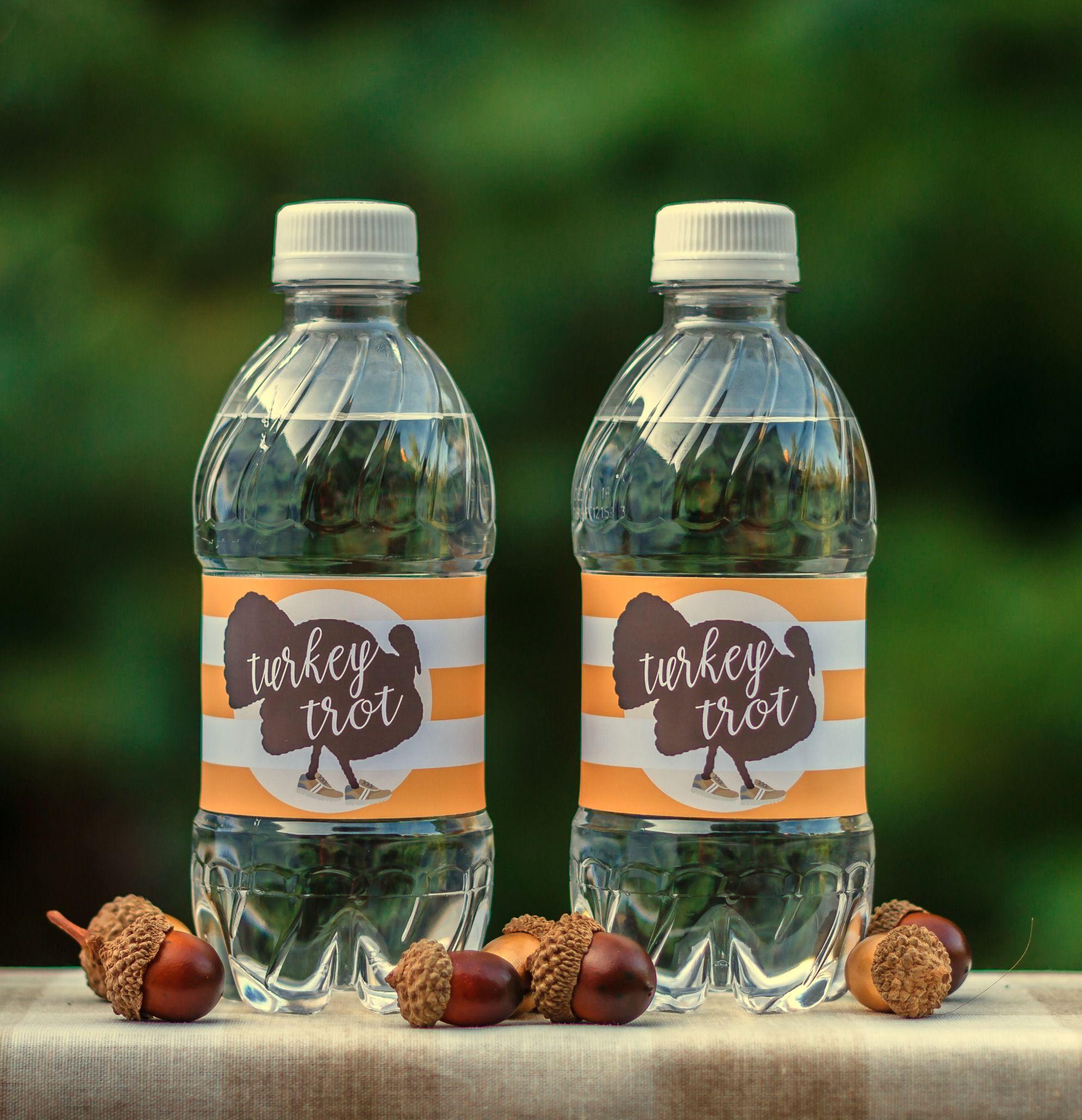 Turkey trot water bottle labels waterproof adhesive water bottle