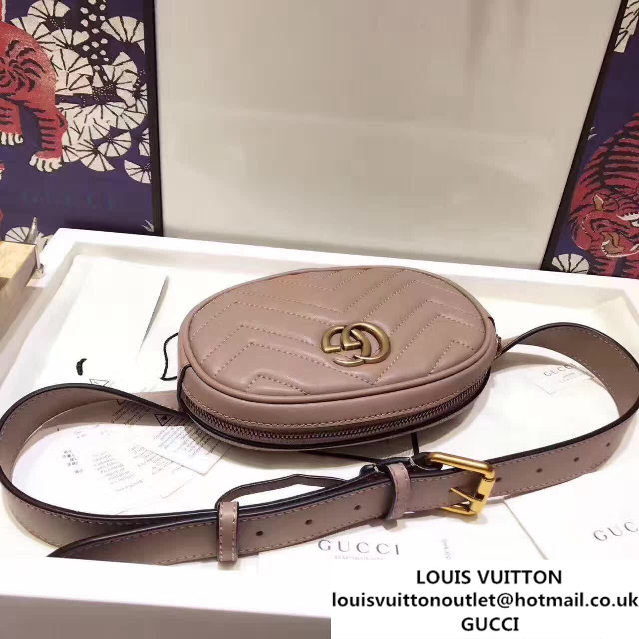 5753384cc7ad Gucci GG Marmont Matelasse Leather Belt Bag 476437 Nude Pink 2017 ...